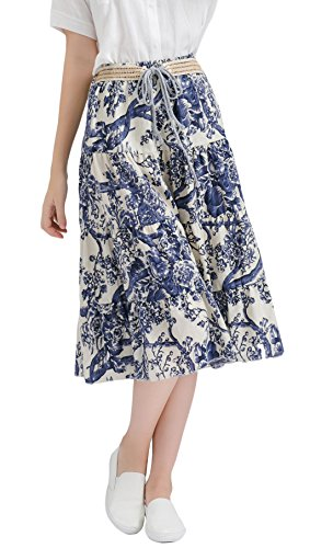 Azue Women's Retro Tiered Floral Flared Linen Long Beach Skirts Casual Half Dress Porcelain (Stretch Linen Skirt)