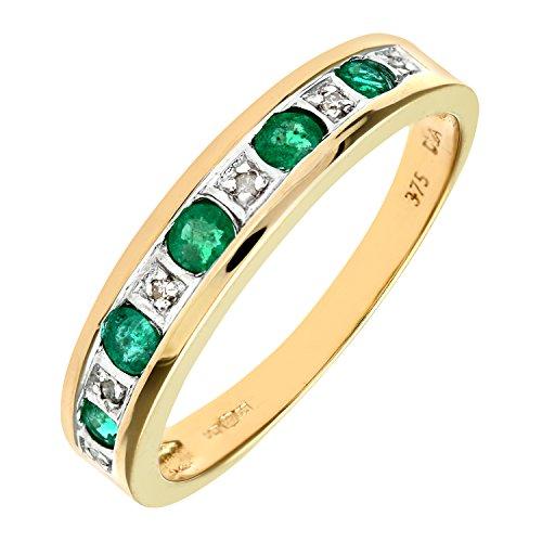 Bague Femme - Or jaune (9 carats) 2.45 Gr - Emeraude - Diamant 0.02 Cts