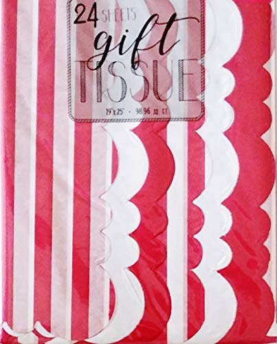 Red and White Striped Design with Scalloped Edge Patterned and Solid Assortment Pack of Gift Wrapping Tissue Paper - Birthday, Valentine's Day, Christmas Holiday, Crafting ()