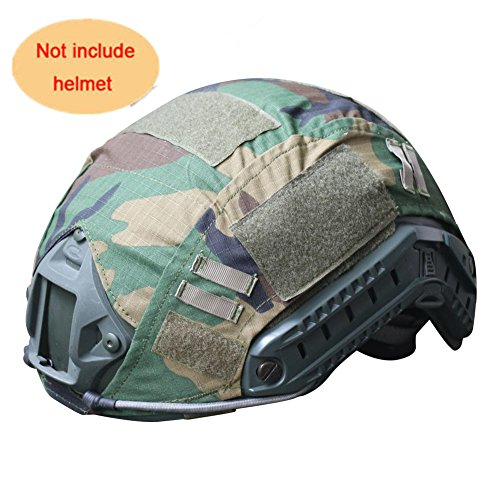 Camo Helmet Cover - H World Shopping Outdoor Airsoft Paintball Tactical Military Gear Combat Fast Helmet Cover Woodland Camo WLD