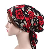 Vintage Women Cotton Head Scarf Chemo Cap Bowknot Turban Head wrap (red Rose)