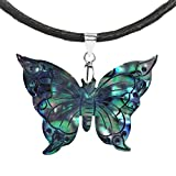 Carved Abalone Shell Rainbow Transformation Butterfly .925 Sterling Silver Silk Necklace