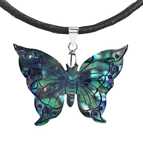 AeraVida Carved Abalone Shell Rainbow Transformation Butterfly .925 Sterling Silver Silk - Necklace Rainbow Butterfly