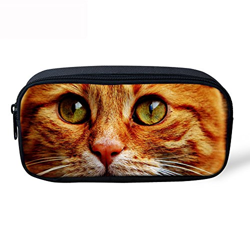 Showcool School Students Pencil Case Holder Cool 3D yellow eyes cat Pattern Supplies Pen Bag Pouch Polyester cute for School Teens boys girls -