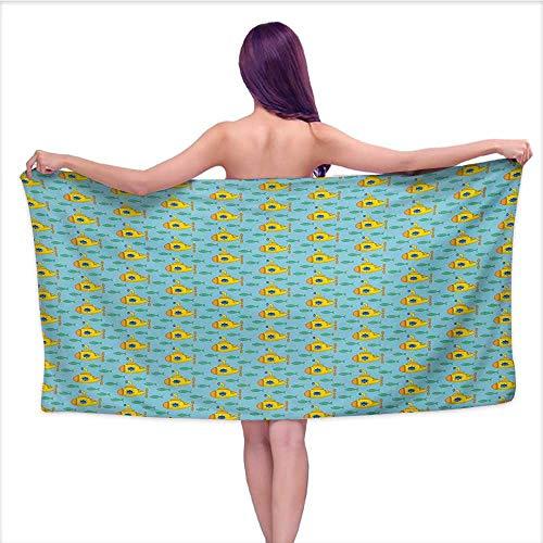 Onefzc Bath Towel Yellow Submarine Aqua Pattern with Little Fish Fun Nautical Porthole Periscope Ocean Theme Super Soft Highly Absorbent W35 x L12 Aqua Yellow