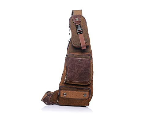 6822c5f59dac Amazon.com: KIOESLKC Vintage Crossbody Bags For Men Messenger Chest ...