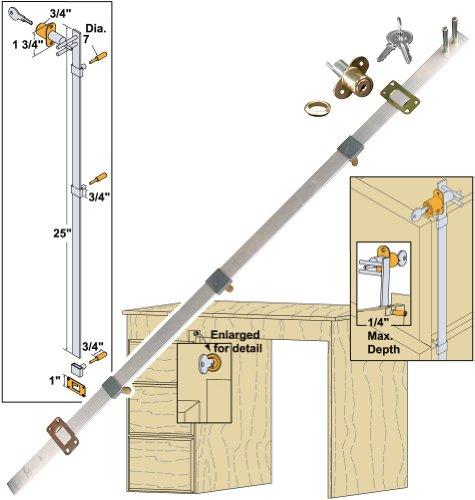 Platte River 154001, Hardware, Locks And Latches, Gang Locks, Front Locking 3-Drawer Gang Lock