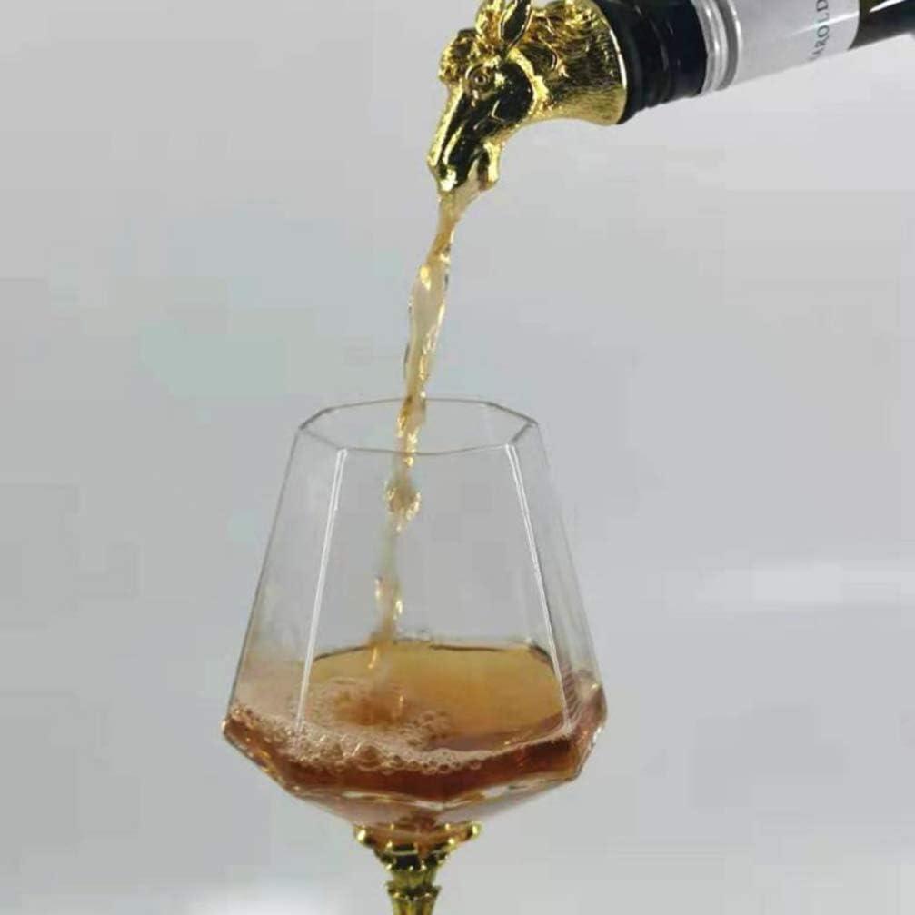 Hemoton Vintage Metal Wine Bottle Champagne Pourer Stopper Horse Head Shaped Wine Caps Sealers Preservers Saver Wine Bottle Seal Plug for Wedding Bar Party Random Color