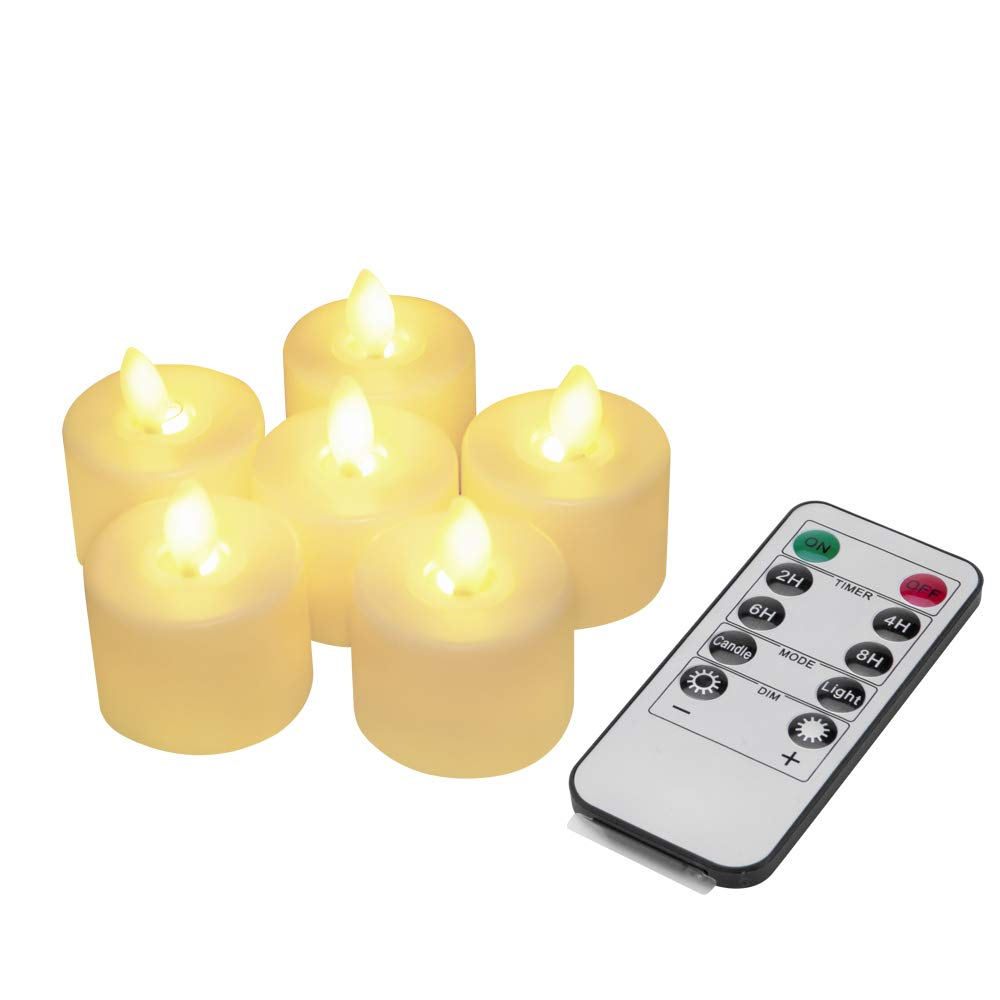 GSD LED Tealight Candles Set of 6 Flameless with Remote Control & Flickering Candles Battery Operated with Timer Decoration, Holidays and Party (Ivory White)