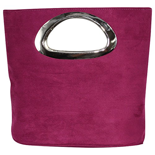 Leather Top Evening Handle Purple Clutch Cckuu Purse Suede Grey Ladies Bag Foldable Italian OqwwHISE