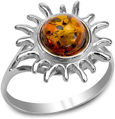 Amber Sterling Silver Sun Ring