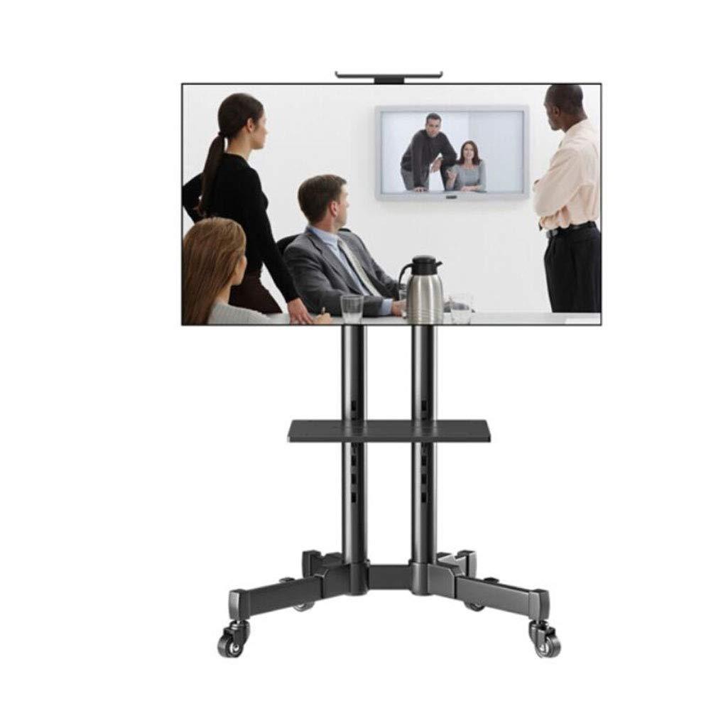 Exing ポータブルTVスタンド モバイルTVスタンド 車輪とトレー付き 32~65インチのテレビに対応 モール/オフィス/その他の広々とした部屋に最適 (ブラック)   B07K9H2G6V