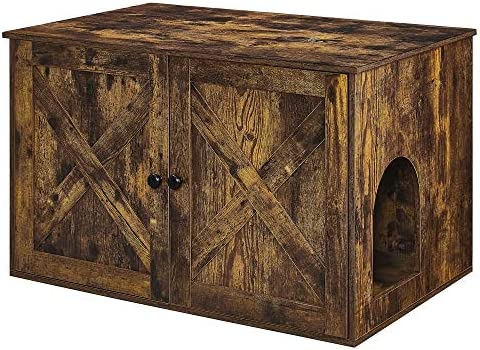 FEANDREA Hidden Cat Litter Box Enclosure, Wooden Cabinet Furniture, Cat Washroom with Doors, Indoor Cat House, Nightstand, End Table, 31.5 x 20.7 x 19.4 Inches, Rustic Brown UPCL002X01