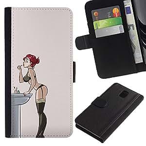 Billetera de Cuero Caso Titular de la tarjeta Carcasa Funda para Samsung Galaxy Note 3 III N9000 N9002 N9005 / sexy redhead lingerie girl stockings / STRONG