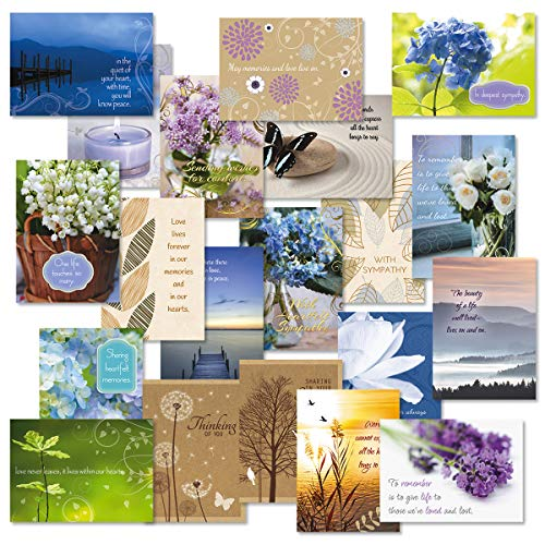 - Mega Sympathy Greeting Card Value Pack (Some with Metallic foil) - Set of 40 (20 Designs), Large 5