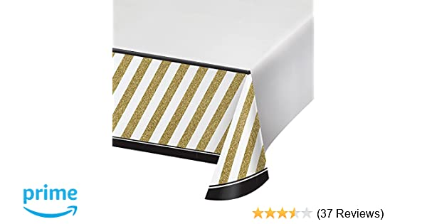 Amazon Creative Converting 318098 Party Border Print Plastic Tablecover 54 X 102 Black Gold Kitchen Dining