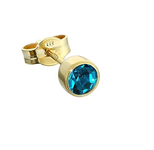 Un solo pendiente de oro de NKlaus, de 333 quilates, circonita turquesa de 4,5 mmhttps://amzn.to/2KwHwWg