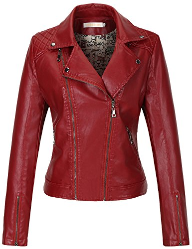 Uaneo Women's Slim Faux Leather Motorcycle Biker Jacket Outerwear (X-Large, Wine Red)