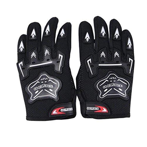 WPHMOTO Kids Full Finger Motorcycle Dirt Bike Riding Cycling Sports Gloves (L, Black)
