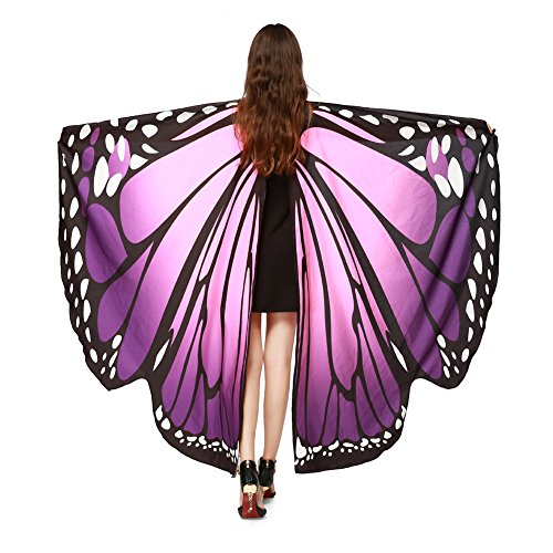 LERFEY Prop Soft Fabric Butterfly Wings Shawl Fairy Nymph Pixie Costume Accessory, Purple, 168x135CM