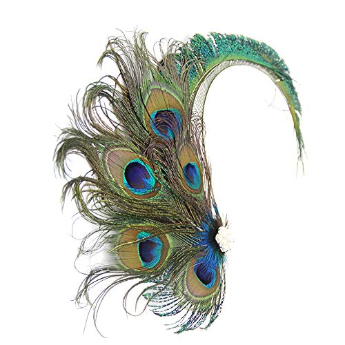 1920s Flapper Hair Clip Peacock Feathers Roaring 20s Gatsby Headband Costume Headpiecee Headwear Green