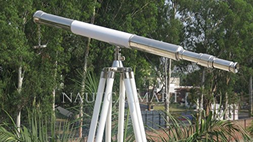 Beautiful Floor Standing Chrome Finish White Leather Griffith Astro Tripod Telescope -