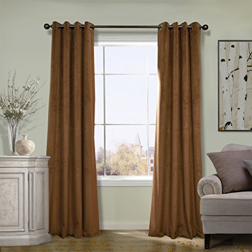 COFTY Super Soft Solid Matt Velvet Curtain Drapes Blackout Sable 50Wx84L Inch(set of 2 Panels) - Nickle Grommet (Drapes Denim Black Solid)