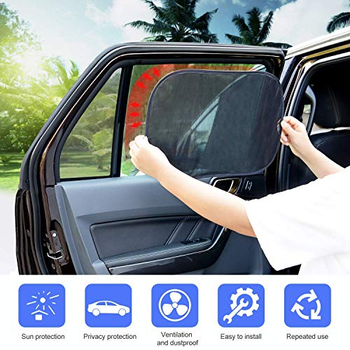 "Adoric Car Window Shades, 3 Pack Car Sun Shades for Baby - 80 GSM 20""x12"" Extra Large Static Cling Side Window Shade for Maximum UV Protection"