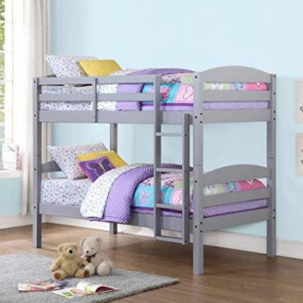 Amazoncom Mainstays Twin Over Twin Wood Bunk Bed Gray Kitchen