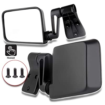 ECCPP Texture Side View Mirror Black Pair Side Mirror Replacement fit for 1987-2002 Jeep Wrangler (exclude 1996) with Manual Folding: Automotive