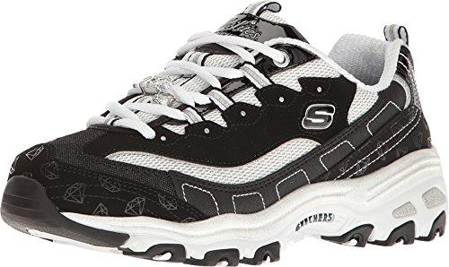 Skechers Women's D'Lites Be Dazzling Sneaker,Black/White,...