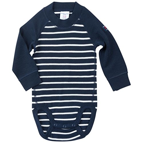Polarn O. Pyret Merino Wool Striped Bodysuit (Newborn) - Dark Sapphire/2-6 Months