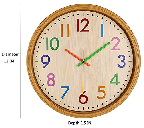 AIOLOC Kids Eco-friendlly Imitate Wood Wall Clock 12.5 Inch Silent Colorful Decorative Battery Operated Clocks Easy To Read for Children's Room by Ticktar (Image #2)