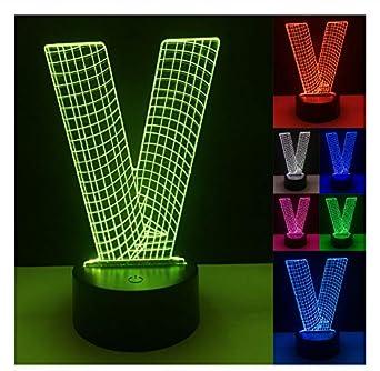 Nuevo alfabeto 3D letra V luz 7 gradiente de atenuación de color ...