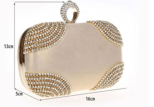 Velvet Fashion For WenL Bag Rhinestone Party Gold New Evening Material Xqwg5Tx