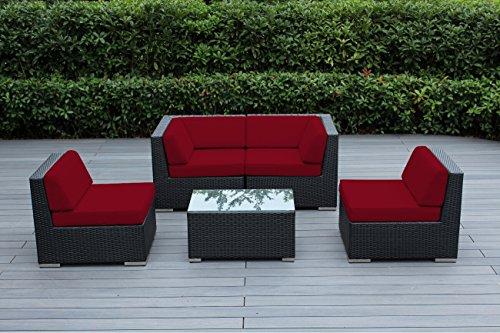 Ohana Outdoor Patio Wicker Furniture Sectional Conversation 5 pc sofa Set (sunbrella red)