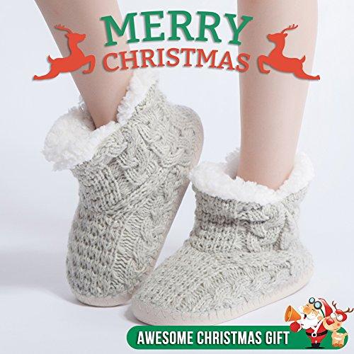 Maamgic Femmes Câble Flou Tricot Maison De Noël Pantoufles Dames Mignonne Chambre Dhiver Intérieur Pantoufles Gris