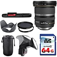 Canon EF-S 10-22mm f/3.5-4.5 USM Lens Bundle + Commander UV Filter + Polarizer Filter + 2 In 1 Lens Cleaning Pen + High Speed 64GB Memory Card + Tulip Hood + Manual Flip Flash + Deluxe Lens Case