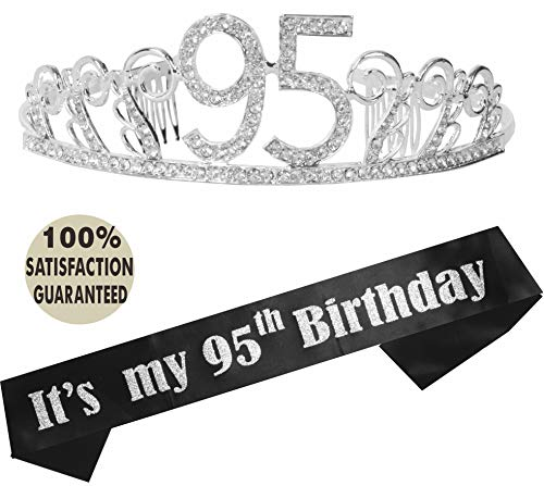 (95th Birthday Tiara and Sash, Happy 95th Birthday Party Supplies, It's My 95th Birthday Satin Sash and Crystal Tiara Birthday Crown for 95th Birthday Party Supplies and Decorations)
