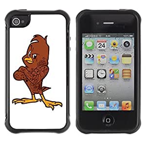 Hybrid Anti-Shock Defend Case for Apple iPhone 4 4S / Cool Bird