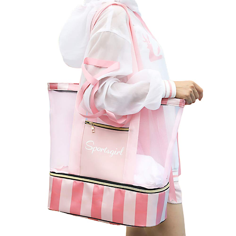 4410edf2baff Summer Romance Mesh Beach Bag Tote Bag with Waterproof Insulated Bottom  (Pinky)