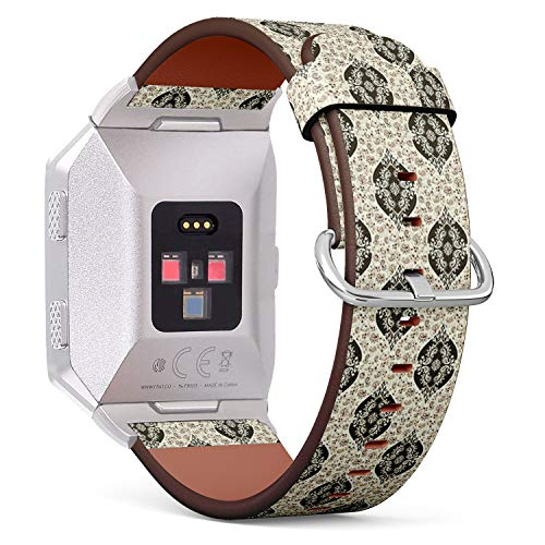 Compatible with Fitbit Ionic Leather Watch Wrist Band Strap Bracelet with Stainless Steel Clasp and Adapters (Style Baroque Paisley)