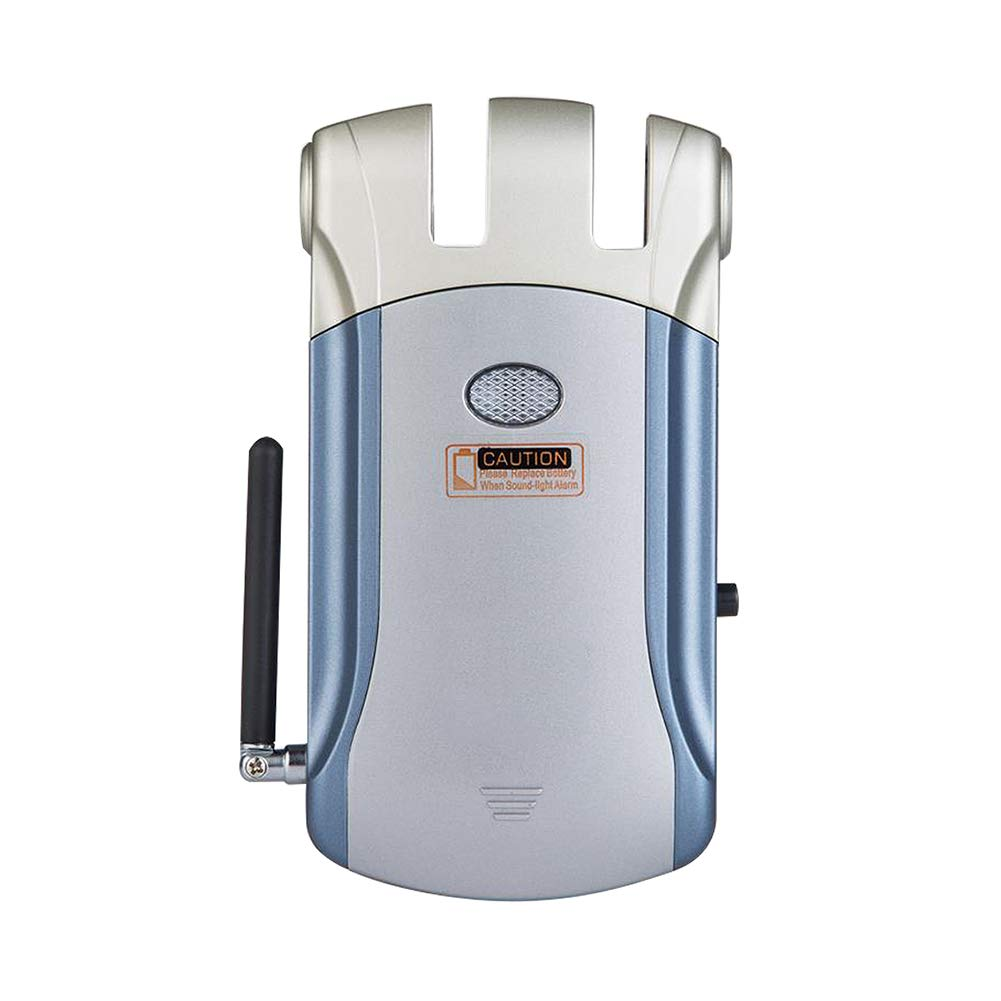 YMXLJJ Smart Remote Control Lock Keyless Home Security QR Code Door Lock, Bluetooth Electronic Hotel Door Lock + 4 Remote Control (Blue + Silver)