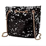 Gabrine Womens Girls Fashion Elegant Shoulder Crossbody Evening Bag Handbag Clutch Purse Glitter Bling Sparkling Sequins for Dailywear Wedding Party Prom(Black)