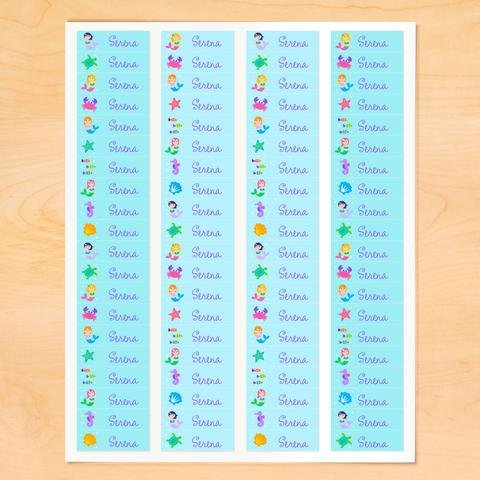 Mermaid Personalized Mini Waterproof Peel and Stick Labels for School and Camp, 80 Custom Labels