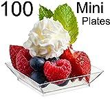 Zappy 100 Mini Dessert Plates 2.5'' x 2.5'' 100 Square Mini Plates - Disposable Hard Plastic Petite Tasting Sample Plastic Mini Dessert Plates Mini Square Appetizer Plates Clear