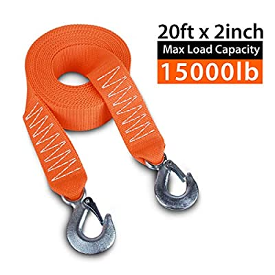 "JCHL Tow Strap Heavy Duty with Hooks 2""x20' 15,000LB Recovery Strap 6,8 Tons Towing Strap with Safety Hooks Polyester: Automotive"