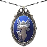 Yspace Favorite Angel Brooch Antique Brass Shield Shape Pendant Necklace Two Way 20'' Chain Pouch Gift