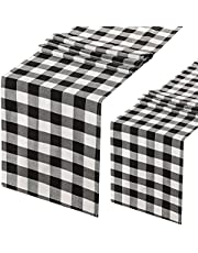 Black and Red 2 Pieces Buffalo Check Table Runner 13x84 Inch Cotton Plaid Farmhouse Table Cover for Family Dinner Picnic Party Decoration