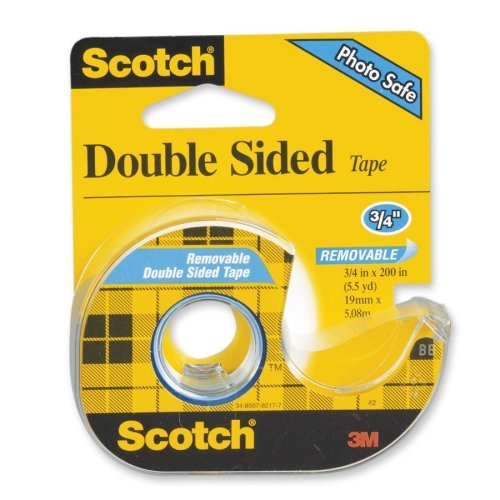 """Scotch Double-Sided Tape - 0.75"""" Width x 200"""" Length - Remov"""